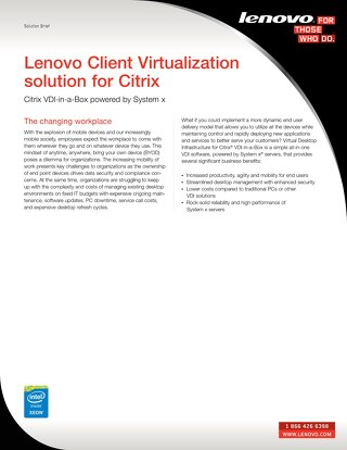 Lenovo Client Virtualization Solution for Citrix