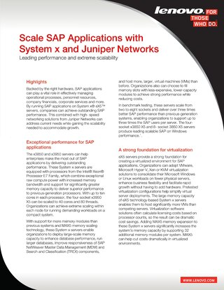 Scale SAP Applications with System x and Juniper Networks
