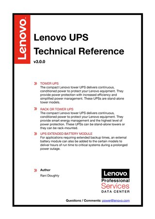 Lenovo UPS Technical Reference