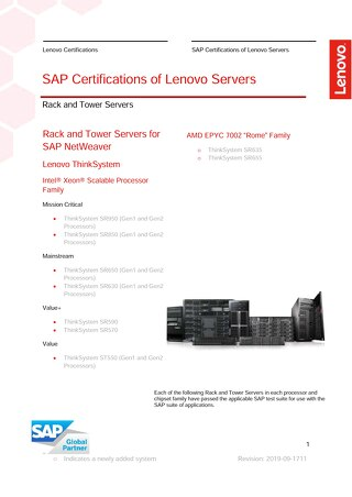 Rack and Tower SAP Certifications