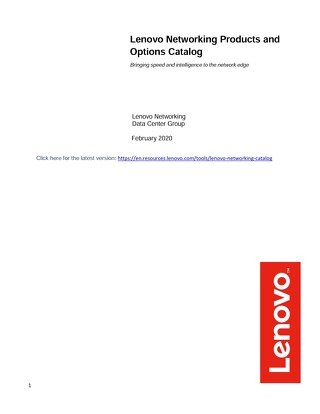 Lenovo Networking Catalog