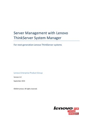 Server Management with Lenovo ThinkServer System Manager
