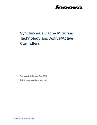 Lenovo Storage Synchronous Cache Mirroring Technology and ActiveActive Controllers