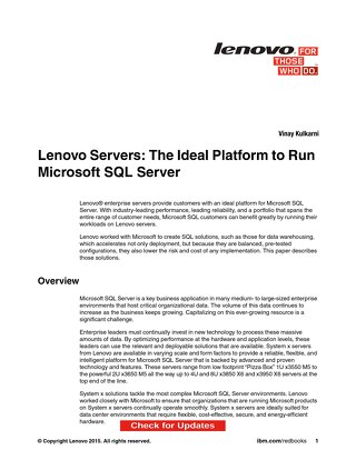 Lenovo Servers - The Ideal Platform to Run Microsoft SQL Server