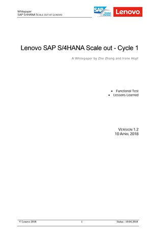 Lenovo SAP S-4HANA Scale Out