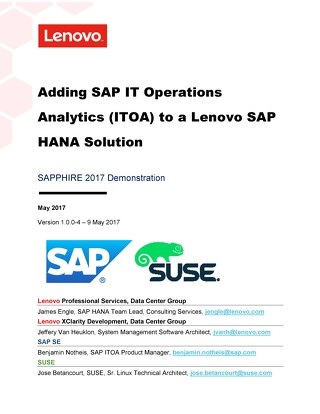 Adding SAP IT Operations Analytics to a Lenovo SAP HANA Solution