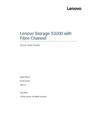 Lenovo Storage S3200 Quick Start Guide
