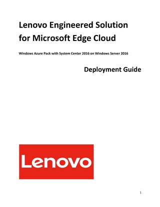 Lenovo Microsoft Edge Cloud Deployment Guide