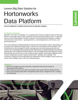 Lenovo Big Data Validated Design for Hortonworks Data Platform