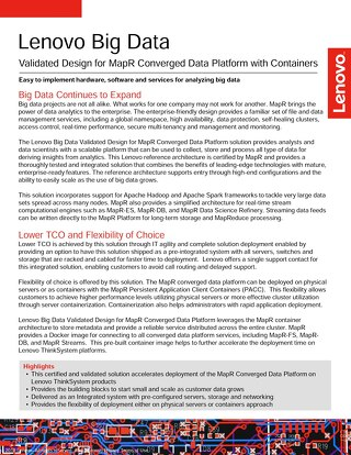 Lenovo Big Data Validated Design for MapR Converged Data Platform with Containers