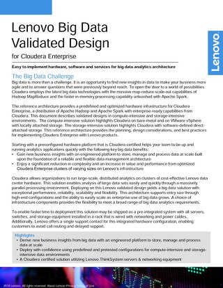 Lenovo Big Data Validated Design for Cloudera Enterprise