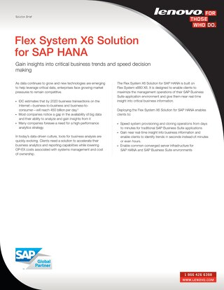 Flex System X6 Solution for SAP HANA