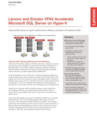 Lenovo and Emulex VFA5 Accelerate Microsoft SQL Server on Hyper-V