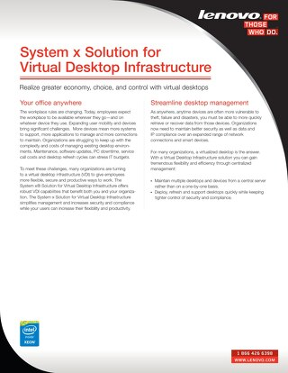 System x Solution for Virtual Desktop Infrastructure