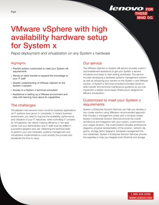 VMware vSphere With High Availability Hardware Setup for System x
