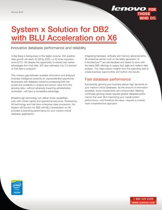 System x Solution for DB2 with BLU Acceleration on X6
