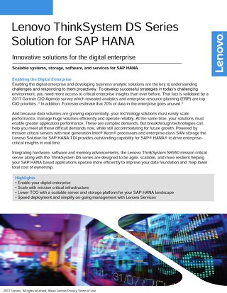 Lenovo ThinkSystem DS Series Solution  for SAP  HANA
