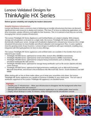 Lenovo Validated Designs for ThinkAgile HX Series