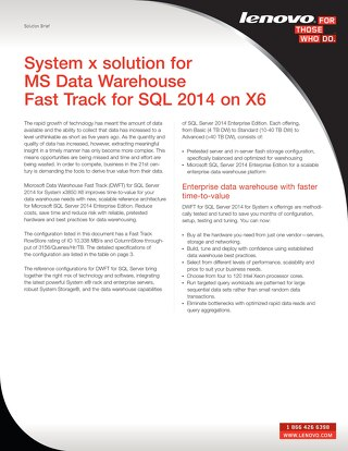 System x solution for MS Data Warehouse Fast Track for SQL 2014 on X6