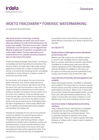 Datasheet: Tracemark™ Forensic Watermarking for operators and broadcasters