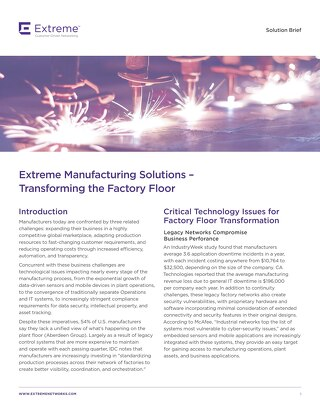 Extreme Manufacturing Solutions: Transforming the Factory Floor