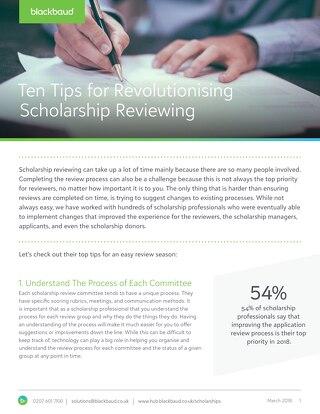 Tipsheet: 10 Tips for Revolutionising Scholarship Reviews