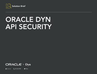 Solution Brief: API Security