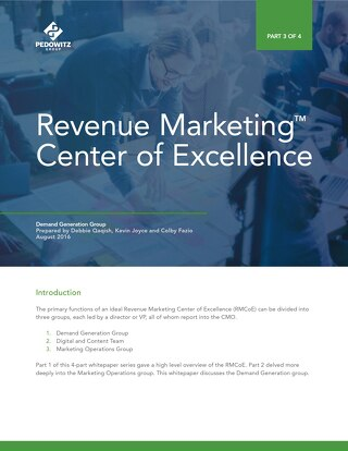 Part 3: Revenue Marketing Center of Excellence – Demand Generation Group
