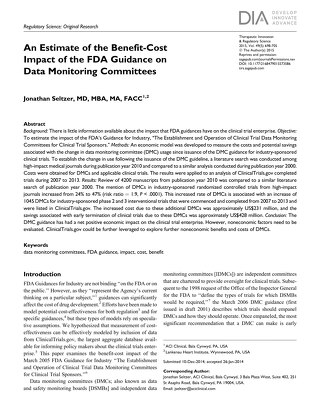 An Estimate of the Benefit-Cost Impact of the FDA Guidance on Data Monitoring Committees
