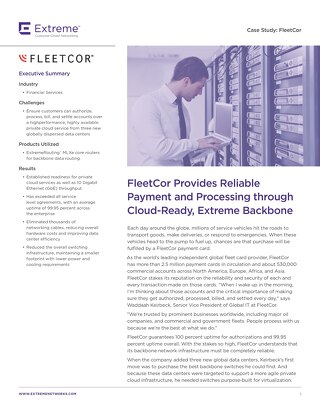 FleetCor Provides Reliable Payment and Processing through Cloud-Ready, Extreme Backbone