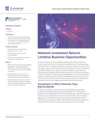 Network Investment Returns Limitless Business Opportunities for South Carolina Federal Credit Union