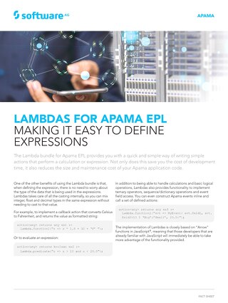 Lambdas for Apama EPL