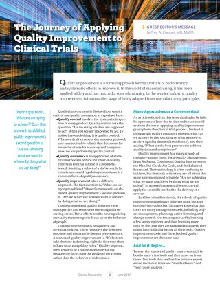 The Journey of Applying Quality Improvements to Clinical Trials - Clinical Researcher
