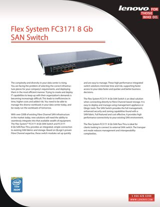 Flex System FC3171 8 Gb SAN Switch