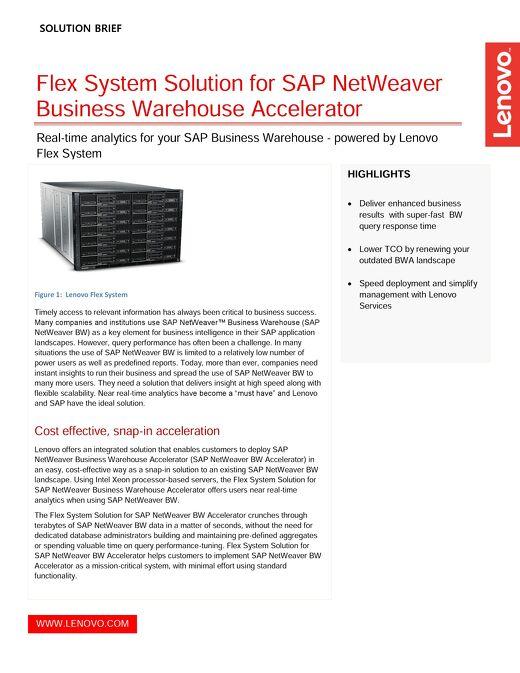 Flex System Solution for SAP NetWeaver Business Warehouse Accelerator