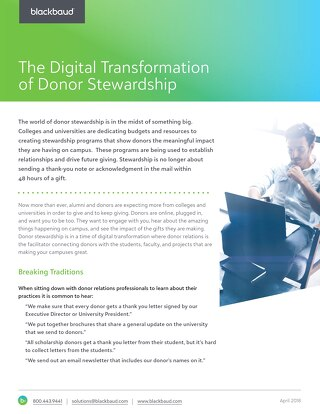 The Digital Transformation of Donor Stewardship