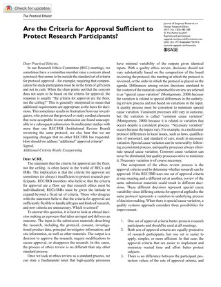 Are the Criteria for Approval Sufficient to Protect Research Participants_
