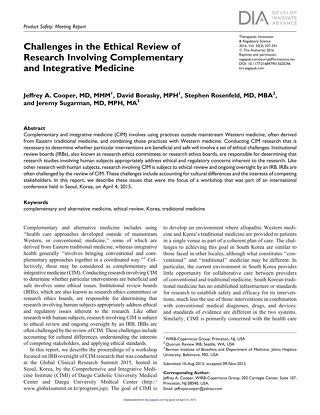 Challenges in Ethical Review of Research Involving Complementary and Integrative Medicine