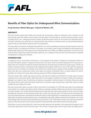Benefits of Fiber Optics for Underground Mine Communications