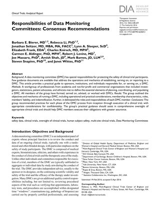 Responsibilities of Data Monitoring Committees: Consensus Recommendations