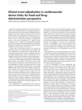 Clinical event adjudication in cardiovascular device trials-FDA Perspective