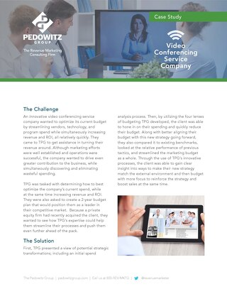 Case Study: Video Conferencing Company Marketing Budget Optimization