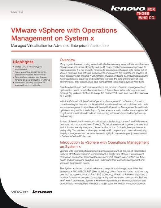 VMware vSphere with Operations Management on System x- Managed Virtualization for Advanced Enterprise Infrastructure
