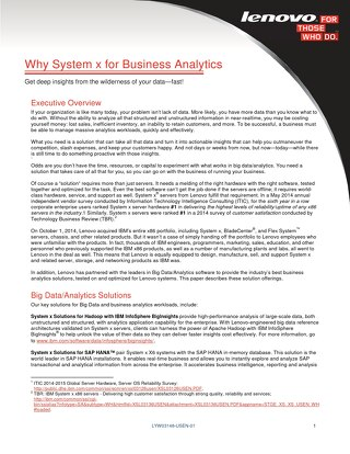 Why System x for Business Analytics