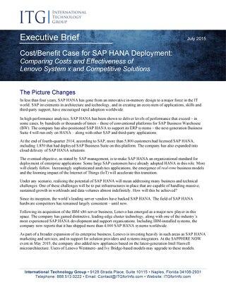ITG Exec Brief - Cost-Benefit Case for SAP HANA Deployment
