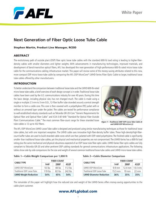 Next Generation of Fiber Optic Loose Tube Cable