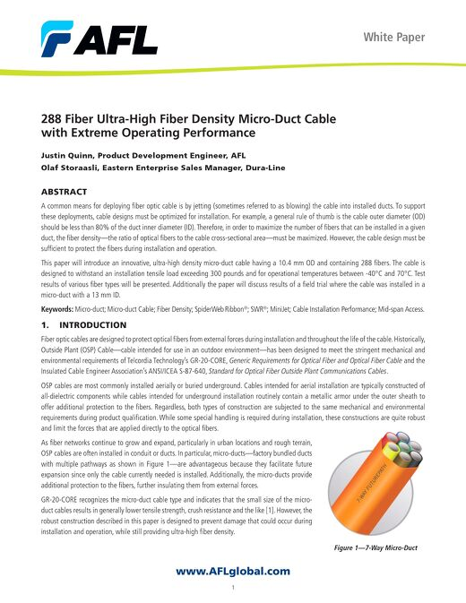288 Fiber Ultra-High Fiber Density Micro-Duct Cable with Extreme Operating Performance