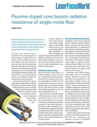 Fluorine-doped core boosts radiation resistance of single-mode fiber
