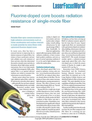Fluorine-doped core boosts radiation resistance of single-mode fiber