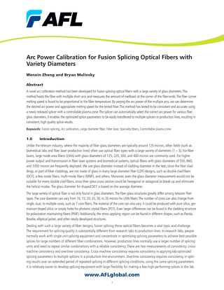 Arc Power Calibration for Fusion Splicing Optical Fibers with Variety Diameters